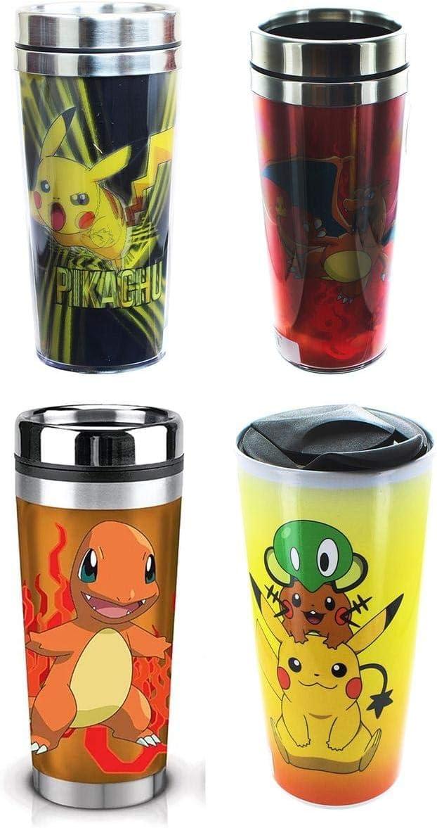 Pokemon 16oz Travel Mug Set: Charizard, Charmander, Pikachu, Gro
