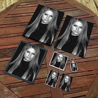Avril Lavigne - Original Art Gift Set #js003 (Includes - A4 Canvas - A4 Print - Coaster - Fridge Magnet - Keyring - Mouse Mat - Sketch Card)