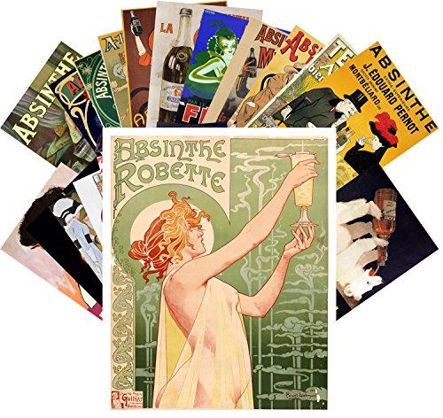Postcard Set 24pcs Absinthe Campari Vintage Alcohol Advert Posters Art Deco Ads