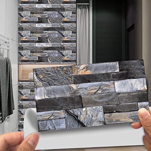 Hiseng 24 Piezas Rectángulo Adhesivos Decorativos Azulejos Pegatinas para Baldosas del Baño, Mármol Rock Patrón Mosaico Estilo Cocina Resistente al Agua Pegatina de Pared (Gris Oscuro)
