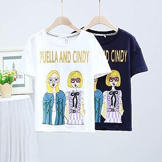 LX 2018夏季新款韩版中长款宽松圆领T恤上衣卡通人物印花短袖女