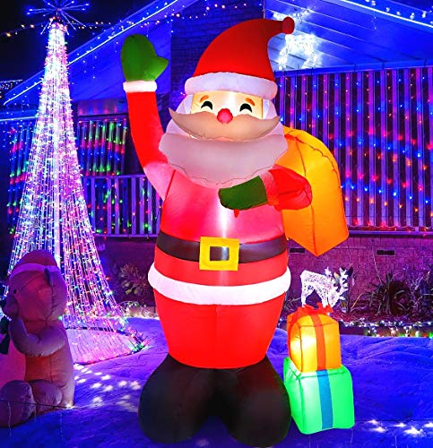 MAOYUE Christmas Inflatables 6ft Christmas Decorations Outdoor Inflatable Santa Blow Up Christmas Decorations Built-in LED Lights with Tethers, Stakes for Outdoor, Yard, Garden, Lawn