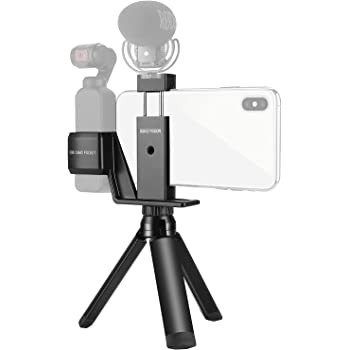 USKEYVISION Osmo Pocket Mount Phone Holder for DJI Osmo Pocket Smartphone Handheld Holder w/Tripod Cold Shoe Hand Strap (Black)