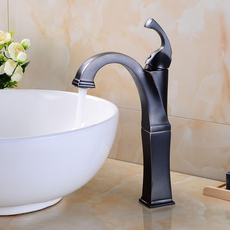Küchenarmatur Waschtischarmatur Wasserfall Wasserhahn Bad Mischbatterie Badarmatur Waschbecken Vintage Messing schwarz ein Griff ein Loch Keramikventil heies und kaltes Wasser Becken Wasserhahn