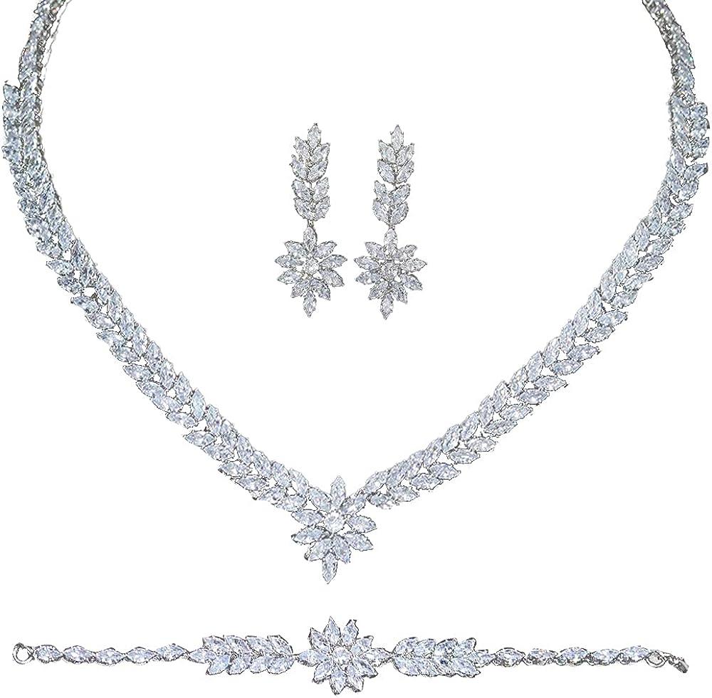 Jorsnovs European 5A Full Zircon Necklace Dangle Earrings Bracelet and Ring 4 pcs Cubic Zirconia Dubai Wedding Bridal Jewelry Set fit with Dresses for Women Girls