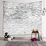 Sevendec Brick Wall Tapestry White Stone Tapestry Wall Hanging Vintage Tapestry Polyester Print for Livingroom Bedroom Home Dorm Decor W90' x L71'