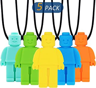Sensory Chew Necklace for Kids, Boys or Girls (5 Pack) - Sensory Oral Motor Aids Teether Toys for Autism, ADHD, Baby Nursi...