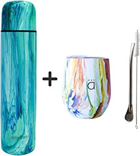 Kalmateh Yerba Mate Gourd, Bombilla & Straw Cleaner and 1000ml Thermos in Turquoise & Flower Power