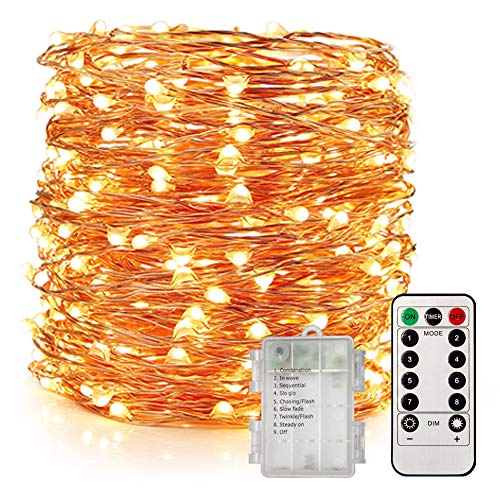 UPGRADE 66Ft 200 LED Waterproof Fairy Lights Battery Operated, 8 Modes Copper String Lights with Remote Control for Bedroom Dorm Indoor & Outdoor Decorations