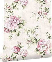 KYKDY Papel tapiz floral vintage Flor Rosa/Beige/Verde Revestimiento de pared no tejido 3d Sala de estar Decoración del hogar del dormitorio, Gris claro, China, 10m * 0.53m = 5.3 metros cuadrados