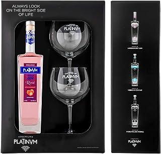 Pack ginebra Premium de fresa Platinvm Rosé 75cl. + dos elegantes copas - ideal Navidad, verano, fiestas, celebración, regalo día de la madre, San Valentín, cumpleaños