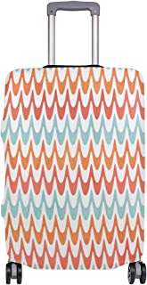 Mydaily Watercolor Wavy Stripes Luggage Cover Fits 18-32 Inch Suitcase Spandex Travel Baggage Protector