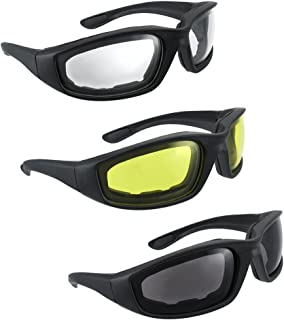 3 Pair UV Protection Motorcycle Riding Glasses Padding Goggles Bicycle Sunglasses - Smoke Clear Yellow