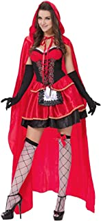 Little Red-Cap Mini Dress Hooded Gothic Women Dress Cape Gloves Party Set
