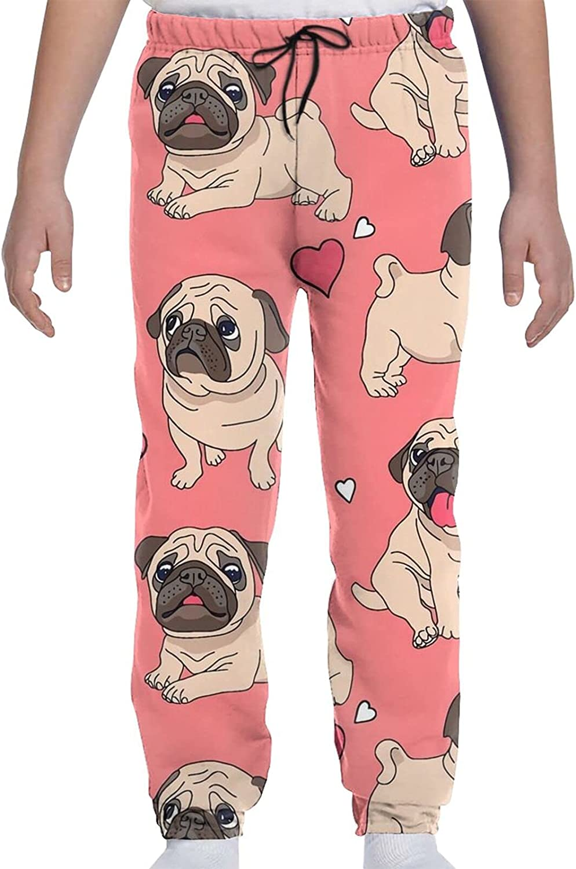 Hananee Youth Max 81% OFF Sweatpants 3D Very popular Print Cute Kawai Dog Heart Puppy Pug