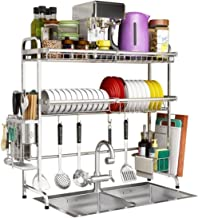 Cutlery Racks Cutlery Rack 304 Stainless Steel Storage Rack Drain Rack Kitchen Shelf 2 Layer Dish Drying Rack (Size: 79CM)...