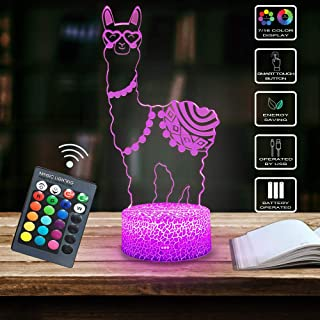 Shellvcase Alpaca Llama 3D Optical Illusion Lamp,7 Colors Change with Remote & Touch Control Kid Night Light Home Office Bedroom Decor As Birthday Ideas for Boys or Girls