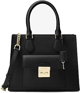 Bridgette Medium Saffiano Leather Tote - Black