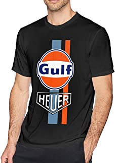 Men's Print with G-ULF R-acing Re-TRO Casual Short Sleeve Cotton T-Shirt Tee