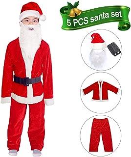 Child Santa Suit Velvet Santa Claus Costume for Boys Christmas Costume 5PCS Fancy Party Suit for Boys 6-11 Years