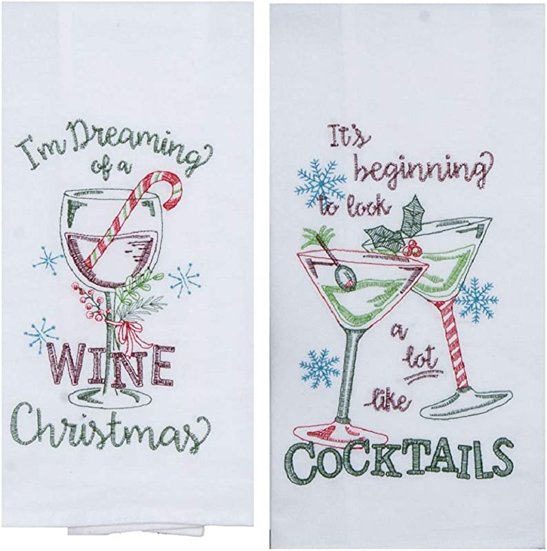 Kay Dee Designs 2 Piece Christmas Holiday Kitchen Bundle 2 Embroidered Flour Sack Towels