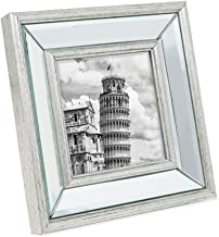 Isaac Jacobs 4x4 Silver Beveled Mirror Picture Frame - Classic Mirrored Frame with Slight Slanted Angle Made for Wall Décor Display, Tabletop, Photo Gallery and Wall Art (4x4, Silver)