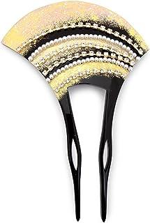 (ソウビエン) バチ型簪 黒 ブラック 金色 ゴールド ラインストーン フェイクパール 二本足 髪飾り かんざし フォーマル ヘアアクセサリー 日本製