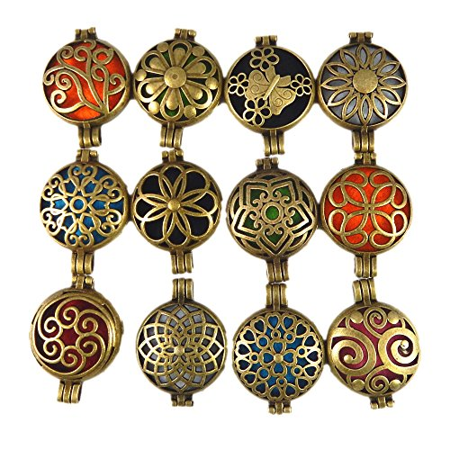Julie Wang 12pcs Mixed Bulk Aromatherapy Bronze Pendant Locket Essential Oil Diffuser