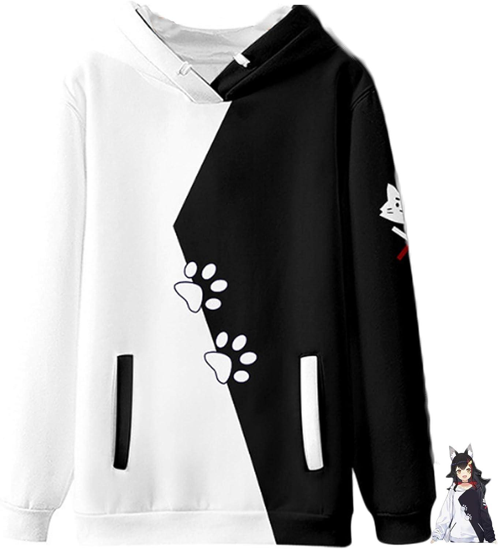 Season4U Halloween Cosplay Hololive Sweatshirt for Girl Women Gamers Okami Mio Hoodie 3D Printed Jacket