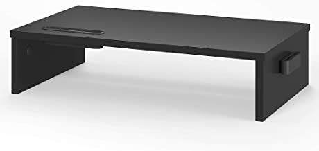 BONTEC Wood Monitor Stand Riser, Desk Monitor Stand with Smartphone Holder, Ergonomic Laptop Printer Stand with Cable Mana...