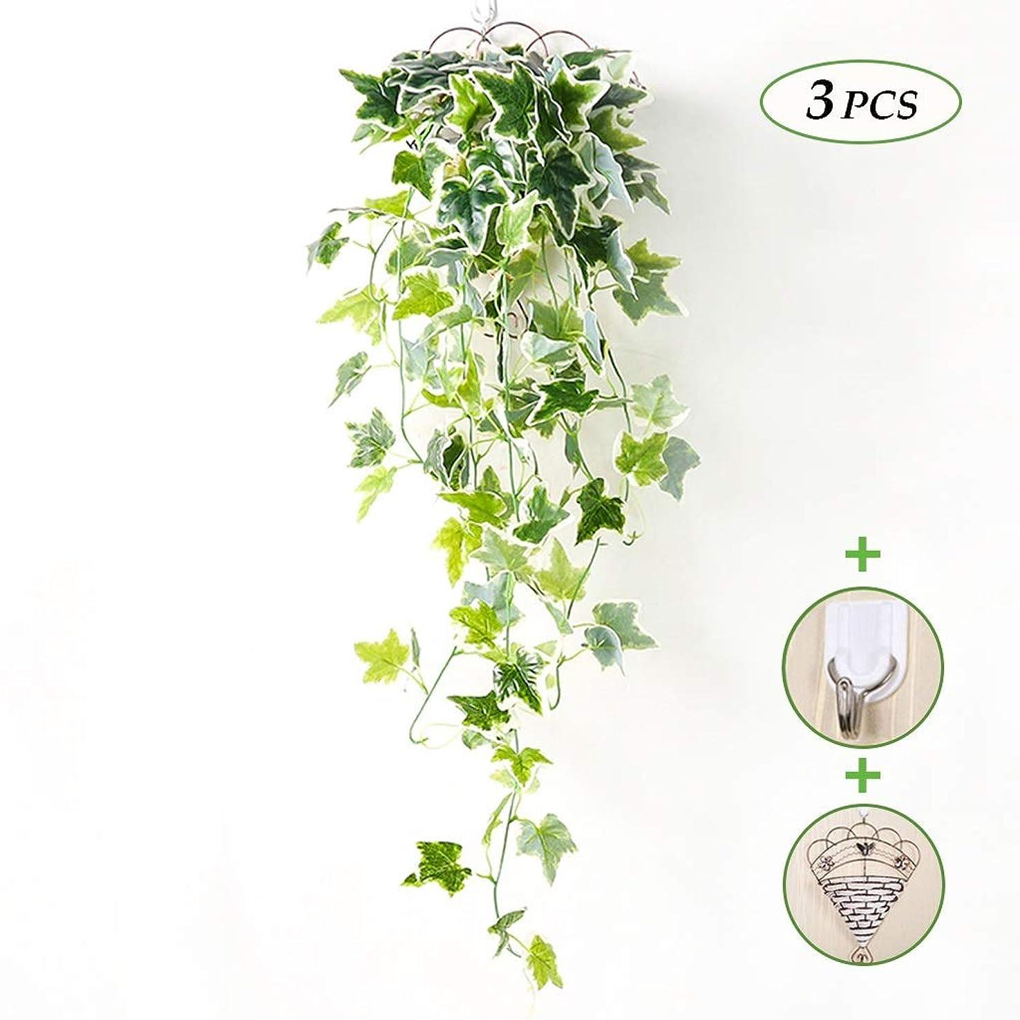 透明にスコアお世話になった人工の緑の植物、壁掛け、人工のツタ、緑の花輪の葉はあなたのために緑で装飾されています -11.11H (Size : 3 article)