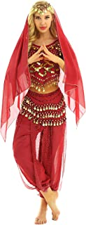 MSemis Womens India Belly Dance Cosplay Costume Crop Top Harem Pants Hip Stage Performance Fancy Dress
