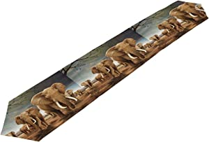 AUUXVA 13x70 inches Long Table Runner African Animal Elephant Print Decorative Polyester Table Runners Tablelcoth for Home Coffee Kitchen Dining Table Party Banquet Holiday Decoration