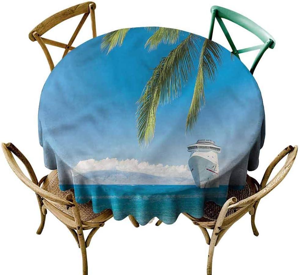 UETECH Garden 買取 Round Tablecloth Nautical Tree Palm Ship Ta 超定番 Cruise