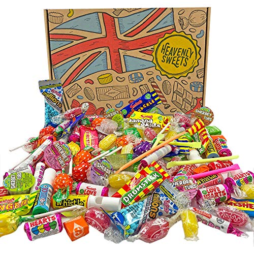 Heavenly Sweets 100% Confezione di Caramelle Assortite - Party Mix con Lecca Lecca, Fischietti, Caramelle Effervescenti, Chewing Gum, Ecc. - Idea Regalo con Scatola Vintage - Circa 100 Snack Vegani