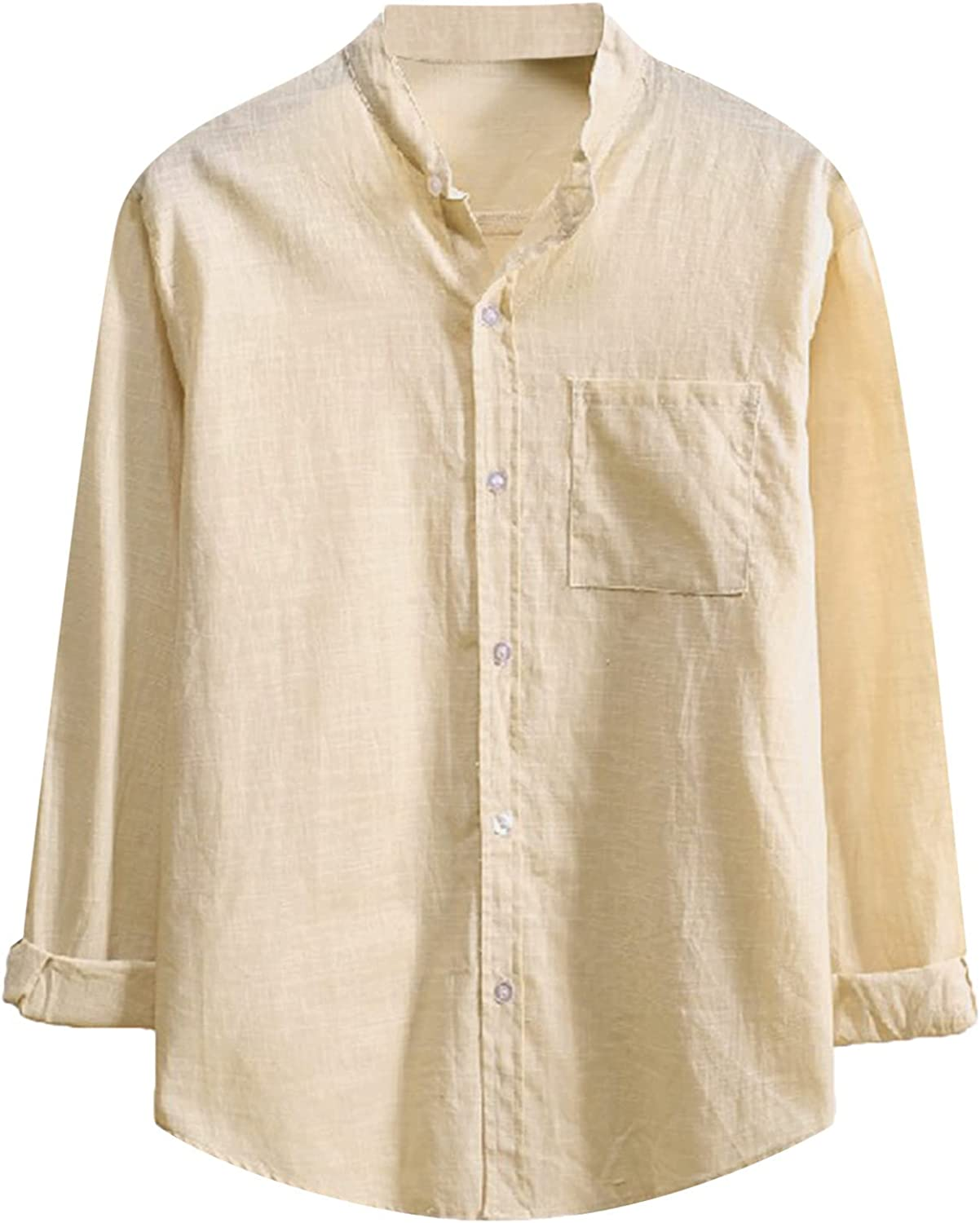 WOCACHI Casual Button Down Shirts For Mens, Cotton And Linen Long Sleeve Patchwork Shirt Fall Holidays Tops