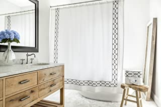 Southampton | Luxury Black & White Shower Curtain | Elegant Jacquard Fabric Shower Curtain | Classic Look | Heavy Weight | Mildew Resistant | 72 x 72 Bath Shower Curtain