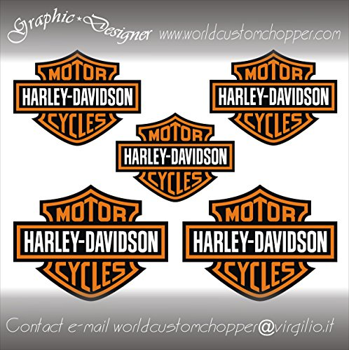 5 ADESIVI DECAL STICKERS BAR AND SHIELD HARLEY DAVIDSON CASCO MOTO CUSTOM BANDIT (ARANCIO)