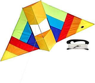 emma kites 60in Rainbow Delta Conyne Kite with 320ft Braided Line - Easy to Assemble, Launch, Fly for Kids and Adults Great Outdoor Games and Activities