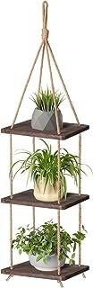 Mkono Wood Hanging Planter Shelf Plant Hanger 3 Tier Decorative Flower Pot Rack with Jute Rope Home Decor, 43 Inch