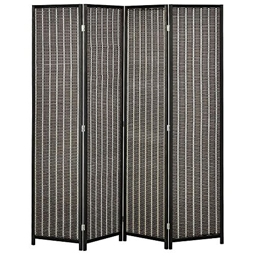HOMCOM Biombo de 4 Paneles de Bambú Separador de Ambientes Plegable Divisor de Espacios para Dormitorio Salón 180x180x1,9 cm Marrón y Negro