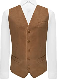 Fawn Brown Textured Velvet Waistcoat