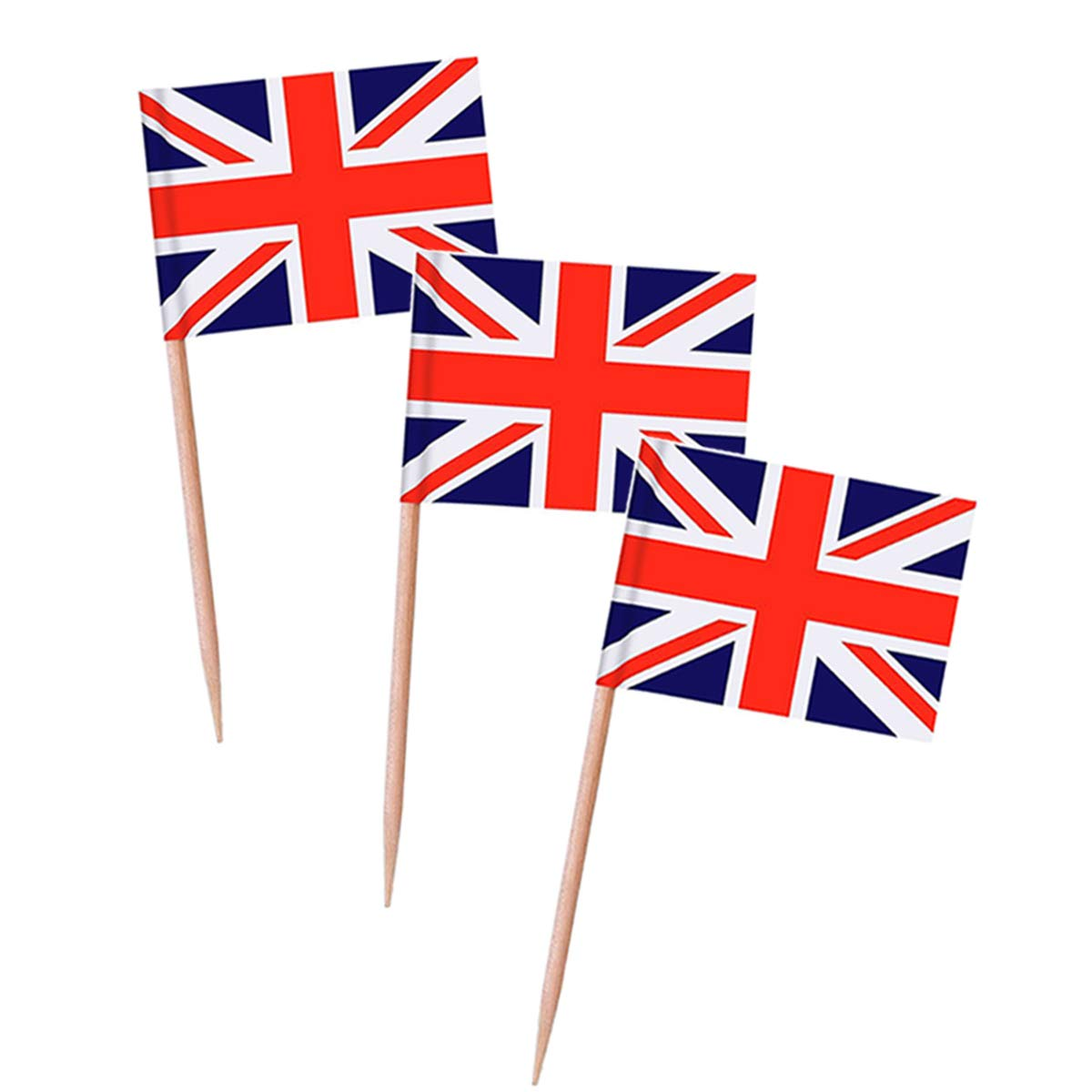 Topoox 100 Pack British Flag Party Cupcake Picks Toothpick Flag Dinner Flags Cake Toppers Decorations