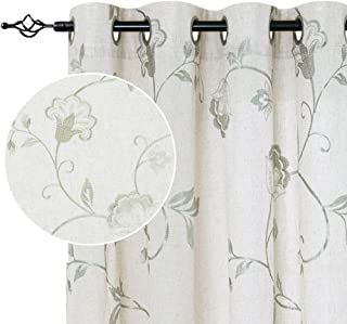"""jinchan Linen Textured Curtains for Living Room Long Embroidered Design Window Curtains Privacy Flax Linen Look Window Treatment Set for Bedroom Grommet Top 2 Panels 63"""" Green"""