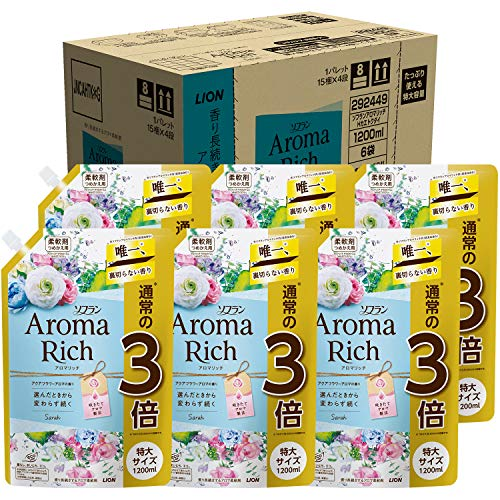 【ケース販売 大容量】ソフラン アロマリッチ サラ(アクアフラワーアロマの香り) 柔軟剤 詰め替え 特大1200ml×6個セット