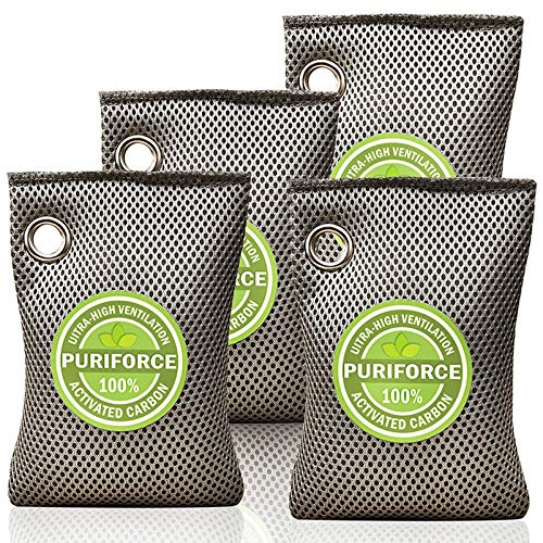 Coconut Charcoal Air Purifying Bag (7oz x 4Pack), 3 Times Absorption Efficiency, Natural Car Air Freshener, Activated Charcoal Air Purifier, Odor Absorber, Odor Eliminator for Home, Closet - 4x200g