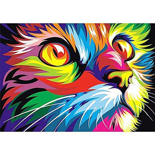 5D Diy Pintura Diamante Kit Completo Adultos Niño Colored Cat Face Crystal Rhinestone Punto Cruz Plaza Diamond Painting bordado Diamante Pintura Artesanía Mosaico hogar Decoración Pared 60x90cm