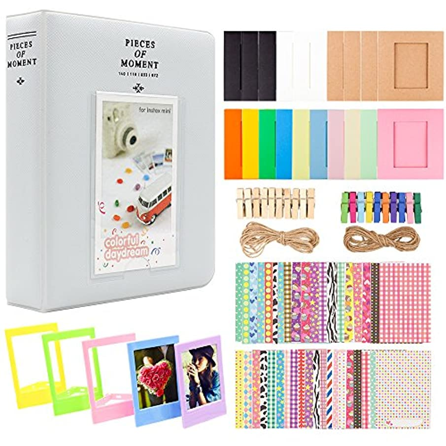 Ablus 2x3 Inch Photo Paper Film Album Set for Fujifilm Instax Mini Camera, Polaroid Snap, Z2300, SocialMatic Instant Cameras & Zip Instant Printer (64 Pockets, Smokey White)