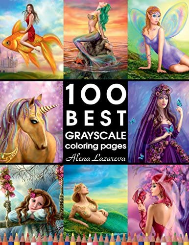 100 BEST GRAYSCALE coloring pages by Alena Lazareva Perfect Gift for Coloring Book Fans Coloring product image