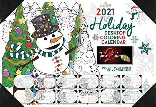 Time2Color 2021 Christmas Edition Holiday Desk Blotter Coloring Calendar: January to December (13' x 19')